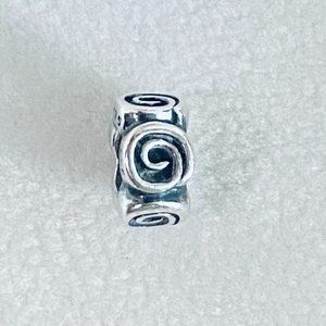 Authentic Pandora Sterling Silver Swirl Charm Bead